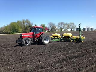 Tractor in empty field
