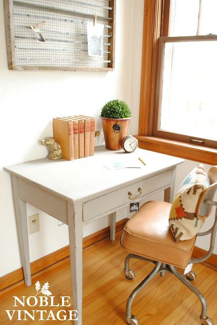 Vintage gray desk and an industrial chair