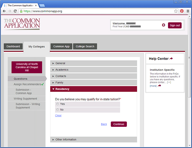 unc admissions blog applying for residency on the common application