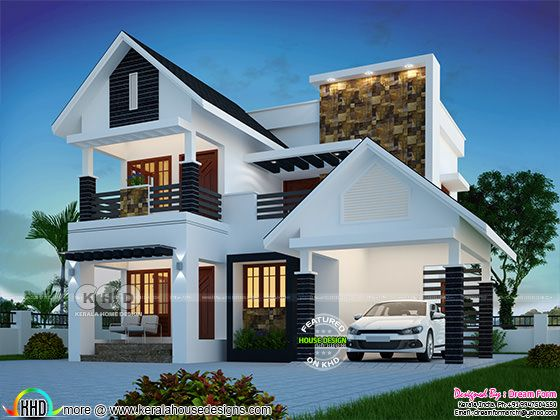 Cute modern 4 bedroom 1809 sq-ft house plan