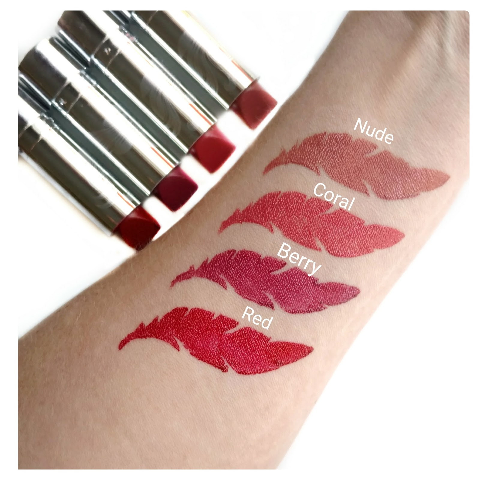 Physicians Formula Hypoallergenic Lipsticks swatches