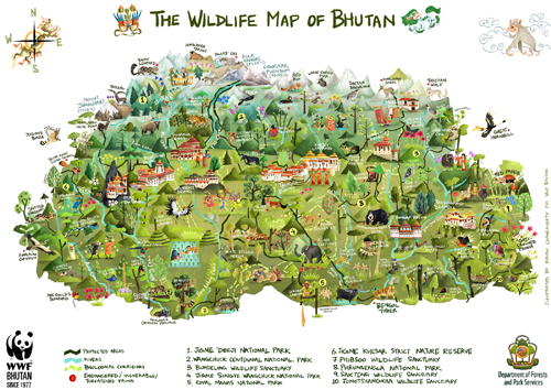 Green Humour The Wildlife Map Of Bhutan - Map of bhutan