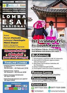 Lomba Essay Nasional KPM 2018 Untuk SMA Mahasiswa Sederajat by Univ. Negeri Jakarta