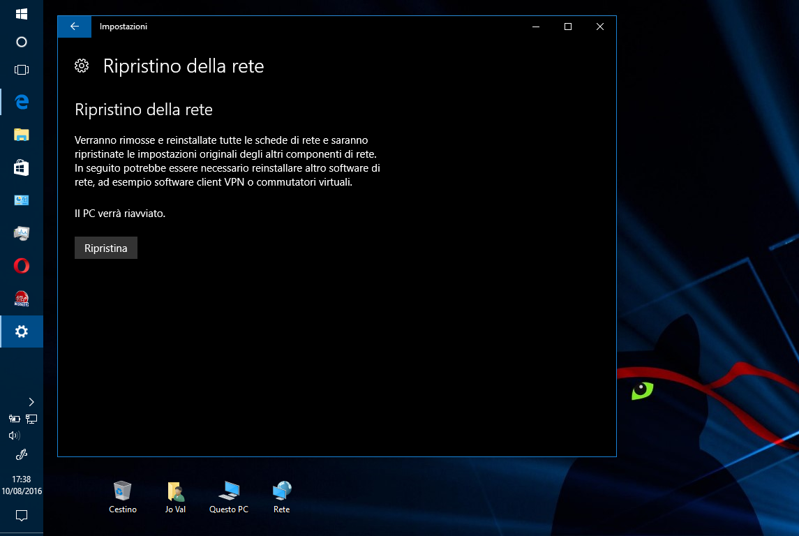 Come effettuare un Reset di rete in Windows 10 2