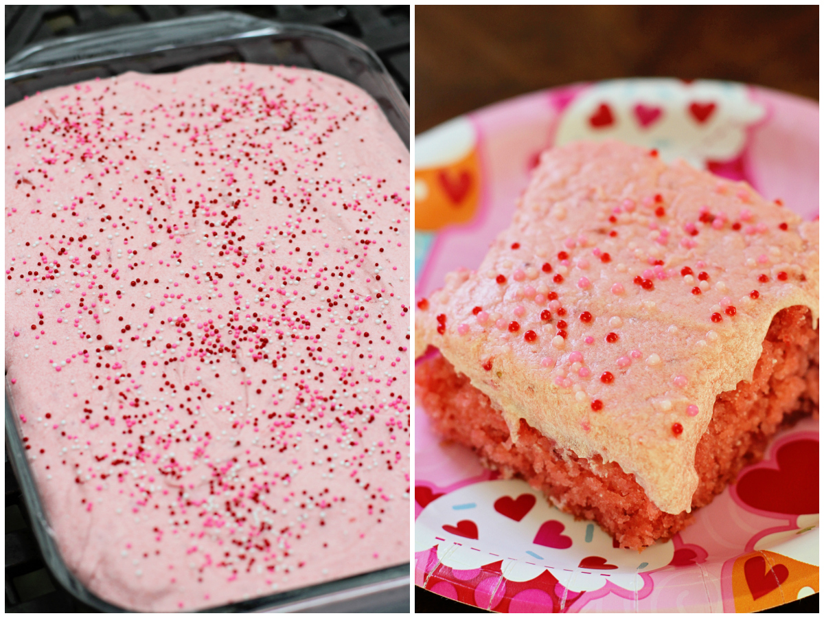 strawberry cake icing running from the cake with strawberry 7734