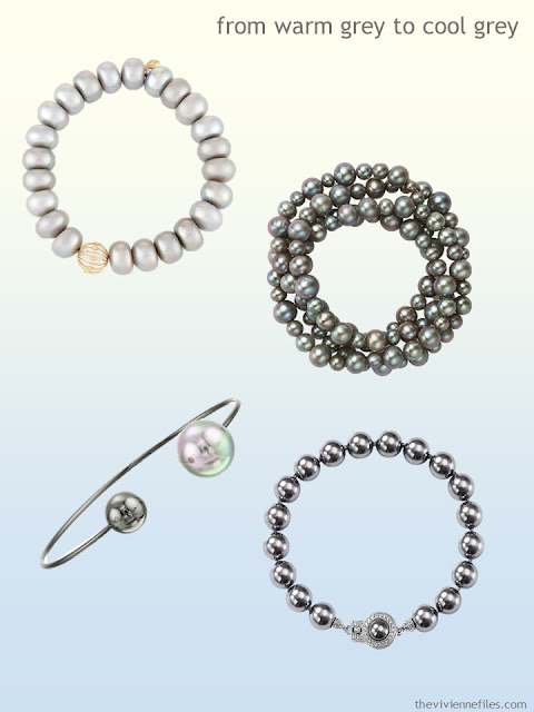 grey pearl bracelets from warm grey to cool grey