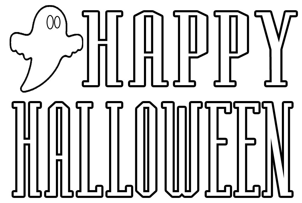 coloring pages that say happy halloween - Pictures That Say Happy Halloween