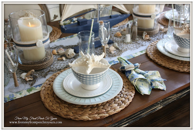 Beach Decor-Nautical Dining Room-Table Setting- From My Front Porch To Yours