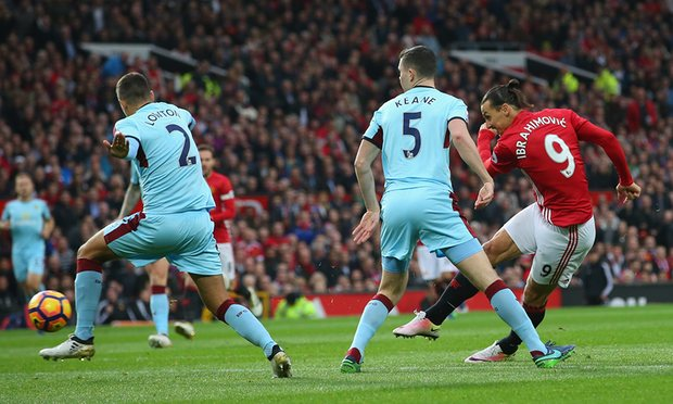 Zlatan Ibrahimovic of Manchester United lets fly against Burnley at Old Trafford.