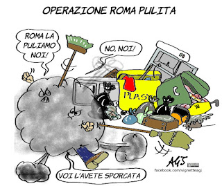 roma, rifiuti, maglie gialle, pd, m5s, renzi, raggi, satira, vignetta