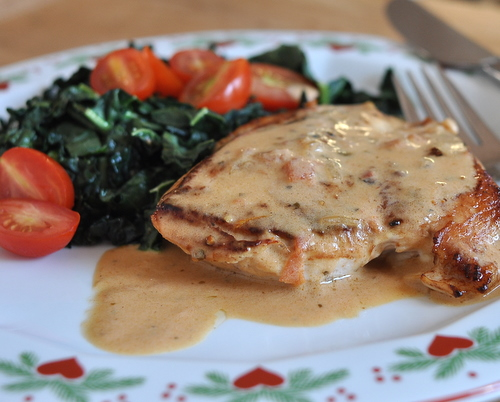 Chicken Sybil, another Quick Supper ♥ KitchenParade.com, it's the 'multiple personality' chicken, just pan-cooked chicken in a creamy-mustard sauce plus whatever on-hand ingredients sound good. Low Carb. High Protein. Weight Watchers friendly! Rave reviews!