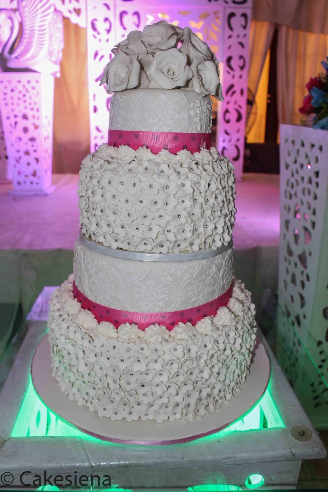 Cake Factory Bling and Pink Wedding Cake