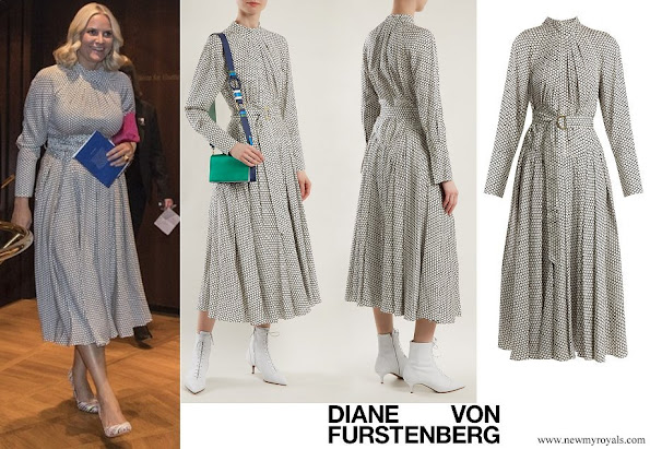 Crown Princess Mette-Marit wore DIANE VON FURSTENBERG Rowe dot print stretch silk dress