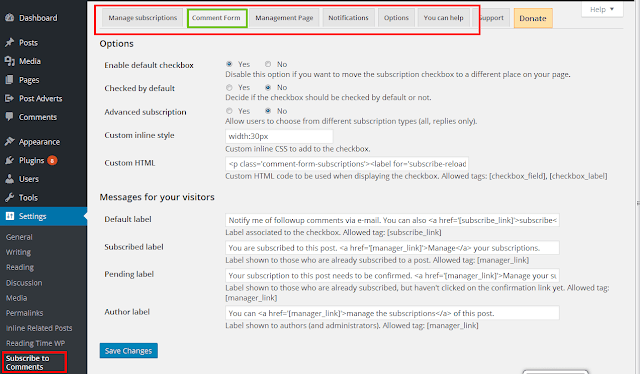 allow users to subscribe comment in WordPress
