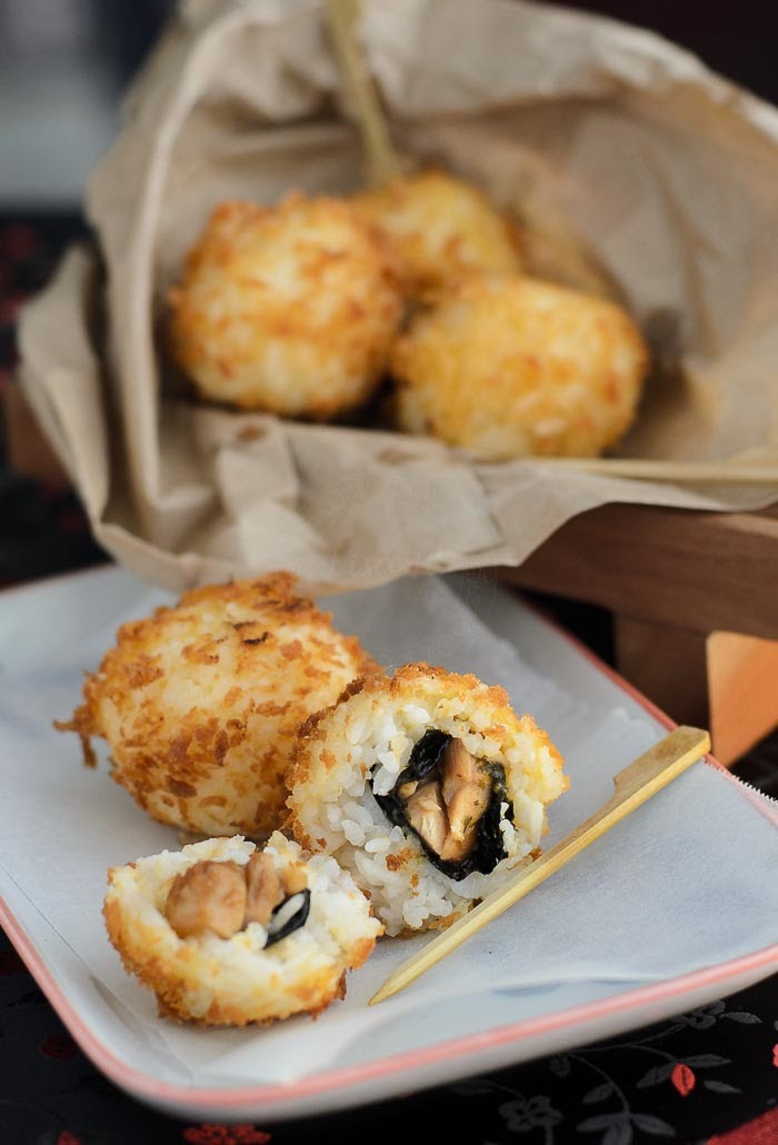 Fried teriyaki chicken sushi balls