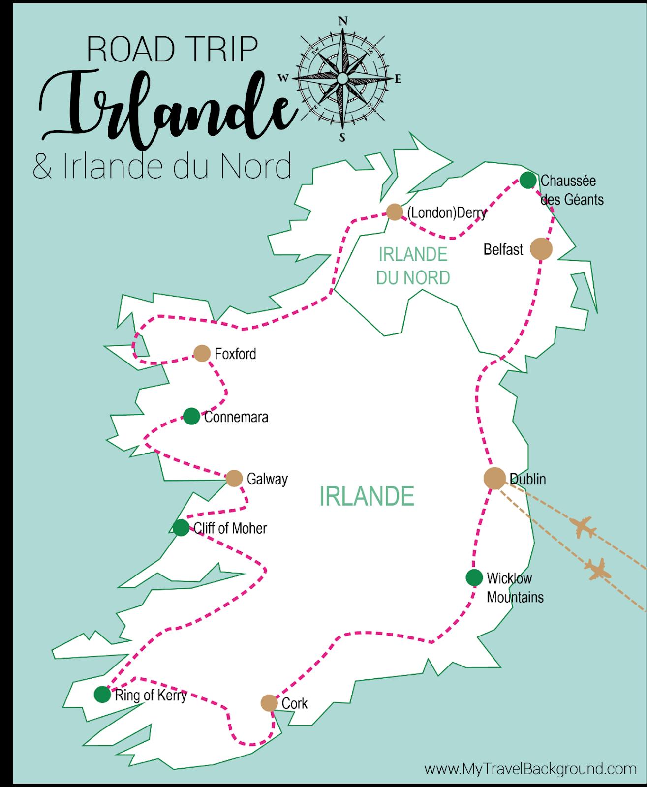 My Travel Background : mon road trip en Irlande et Irlande du Nord - Itinéraire