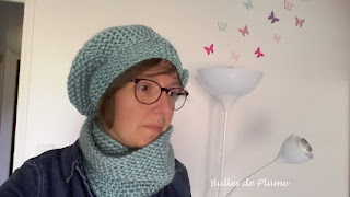ensemble béret et snood au tricotin