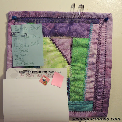 Visual Project list board is a mini quilt