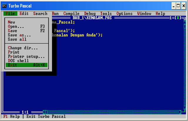 Menjalankan Program Pascal