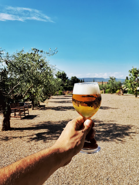 a beer at the poblet monastery in Catalonia, Spain