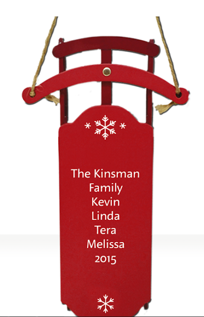 Hallmark Personalized Keepsake Ornament red, sleigh, with family names