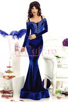 Rochie lunga din catifea albastra si dantela in zona bustului • Atmosphere