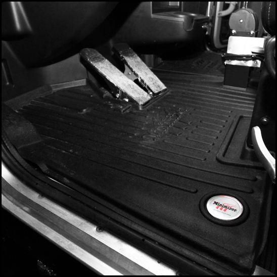 New Minimizer Floor Mats in a 2020 Peterbilt model 337