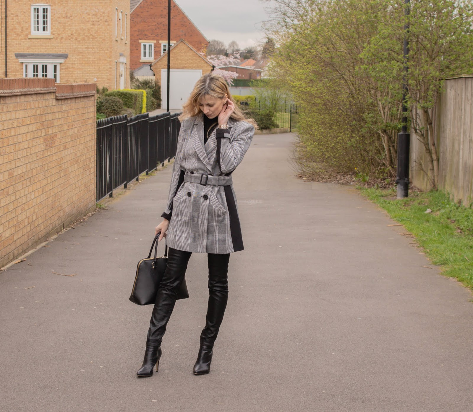 high street faux leather trousers
