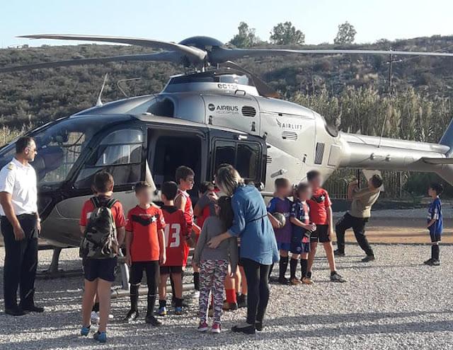 Ούτε ένα ούτε δυο αλλά 4 ελικόπτερα προσγειώθηκαν στο γήπεδο Δρεπάνου