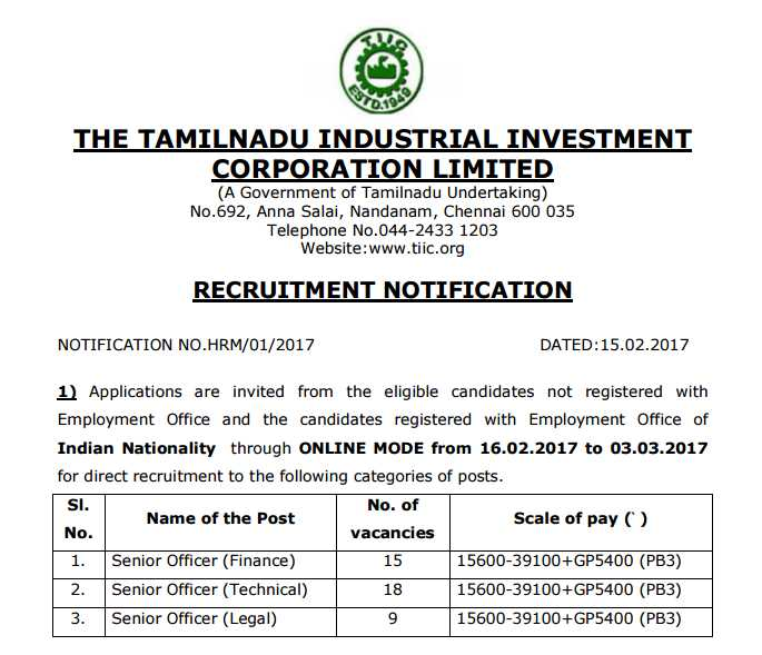 TIIC Recruitment 2017 officer vacancy