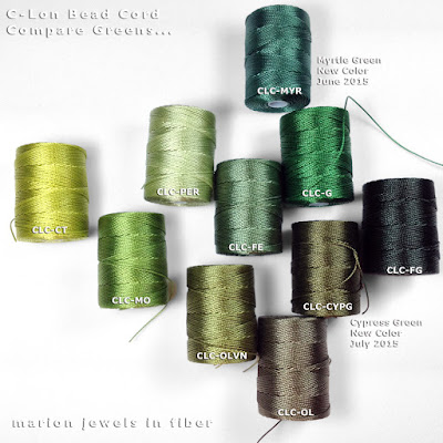 New C-Lon Bead Cord Color Myrtle & Cypress Green compared  with other C-Lon Bead greens