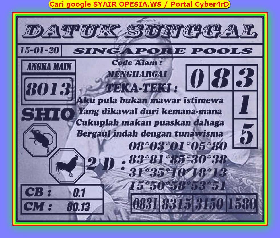 Kode syair Singapore Rabu 15 Januari 2020 149