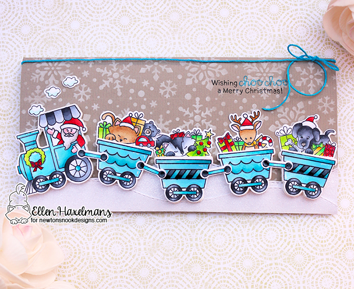 Christmas Train Card by Ellen Haxelmans | All Aboard for Christmas Stamp Set by Newton's Nook Designs #newtonsnook
