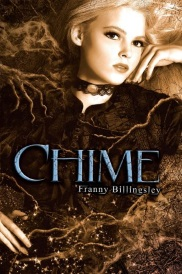Cover of Chime, featuring a white girl with platinum blonde hair. She wears an old-fashioned black dress and reclines within a bed of twigs that seem to embrace her.