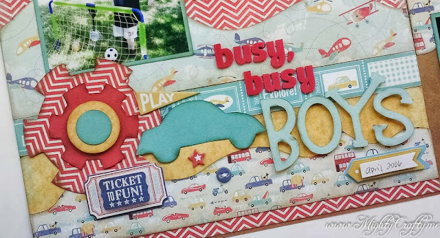 Busy, Busy Boys layout with Kiwi Lane Designs -- www.MightyCrafty.me