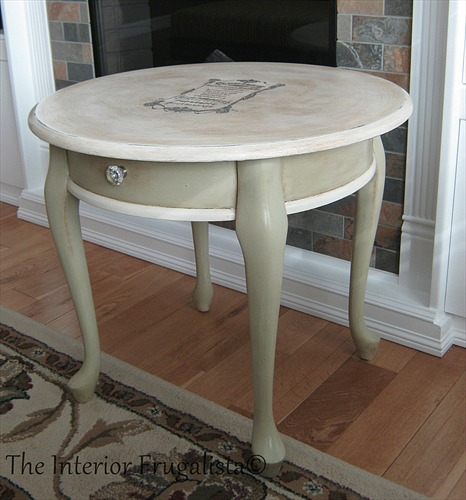 Curbside Queen Anne Table with French Graphic