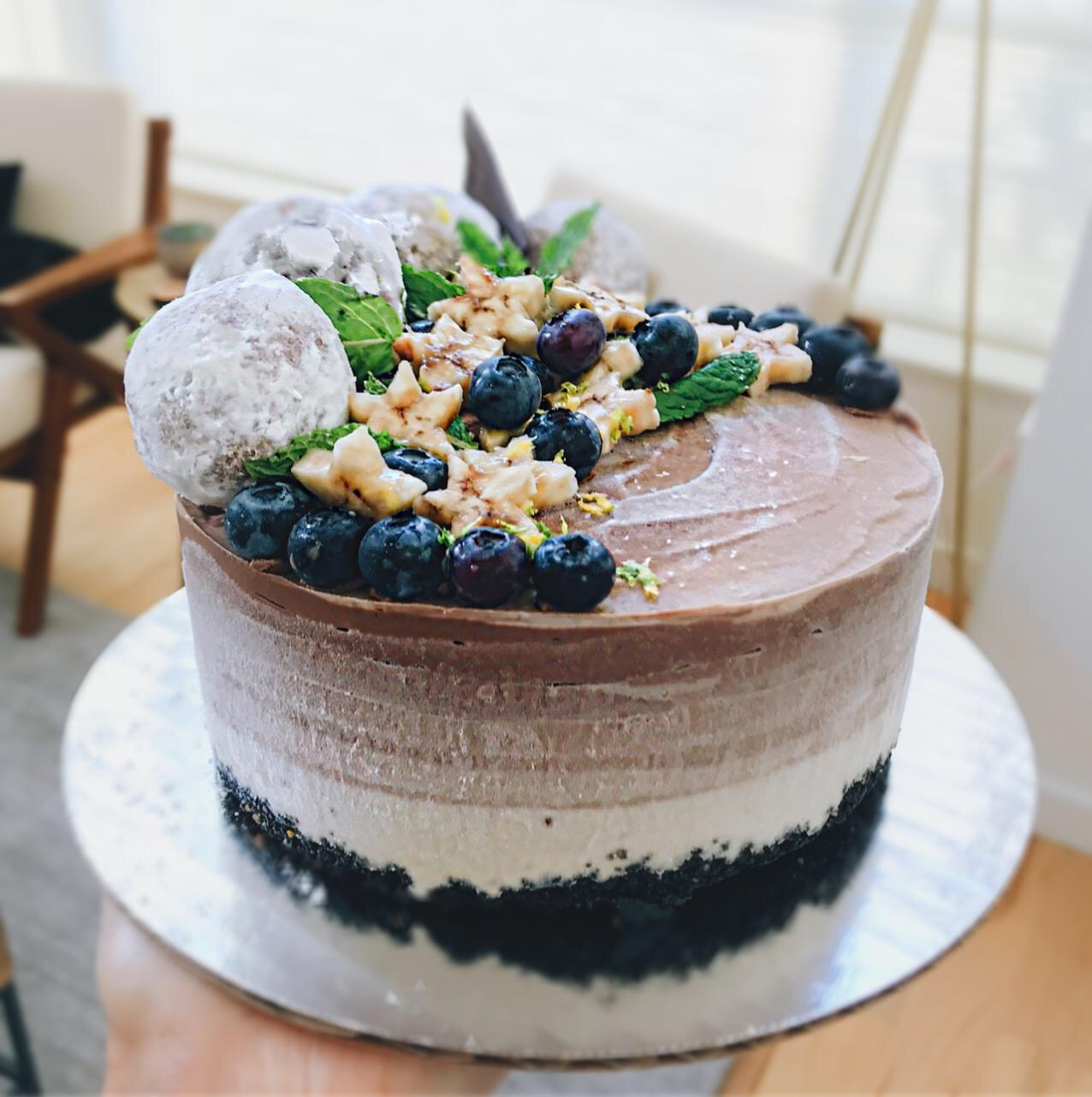 Low glycemic load chocolate banana ombre cake, from The Jen Project - a skincare blog for busy people