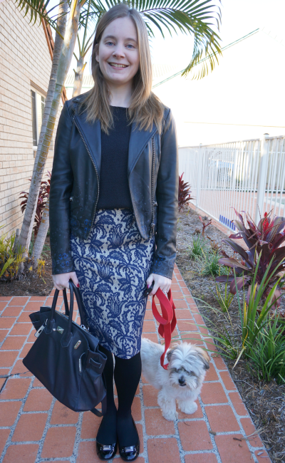 away from blue work outfit navy bag black knit jumper asos lace pencil skirt