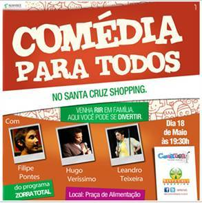 Show de stand up comedy no Santa Cruz Shopping