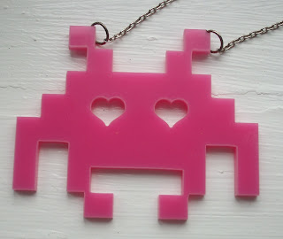 huge pink space invaders retro necklace
