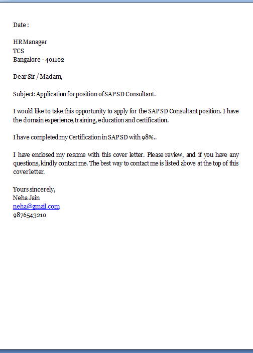Sample Email To Apply For A Job