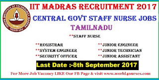 IIT Madras Recruitment 2017 Latest Central Govt Staff Nurse Jobs