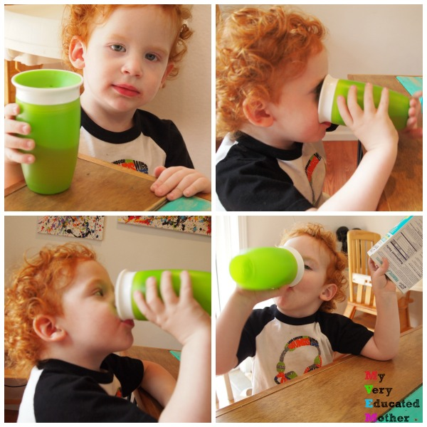 Someone did NOT want his picture taken, but the Little Remedies® Probiotics tasted so good he relented!