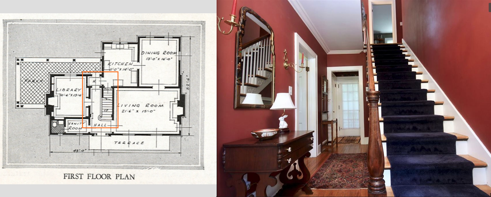 Sears house seeker entry hall and staircase sears new haven model 30 hawthorne ave delmar ny malvernweather Images