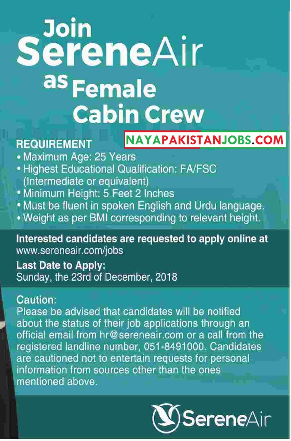 Serene Air jobs , Serene Air Female Cabin , new female Serene Air jobs