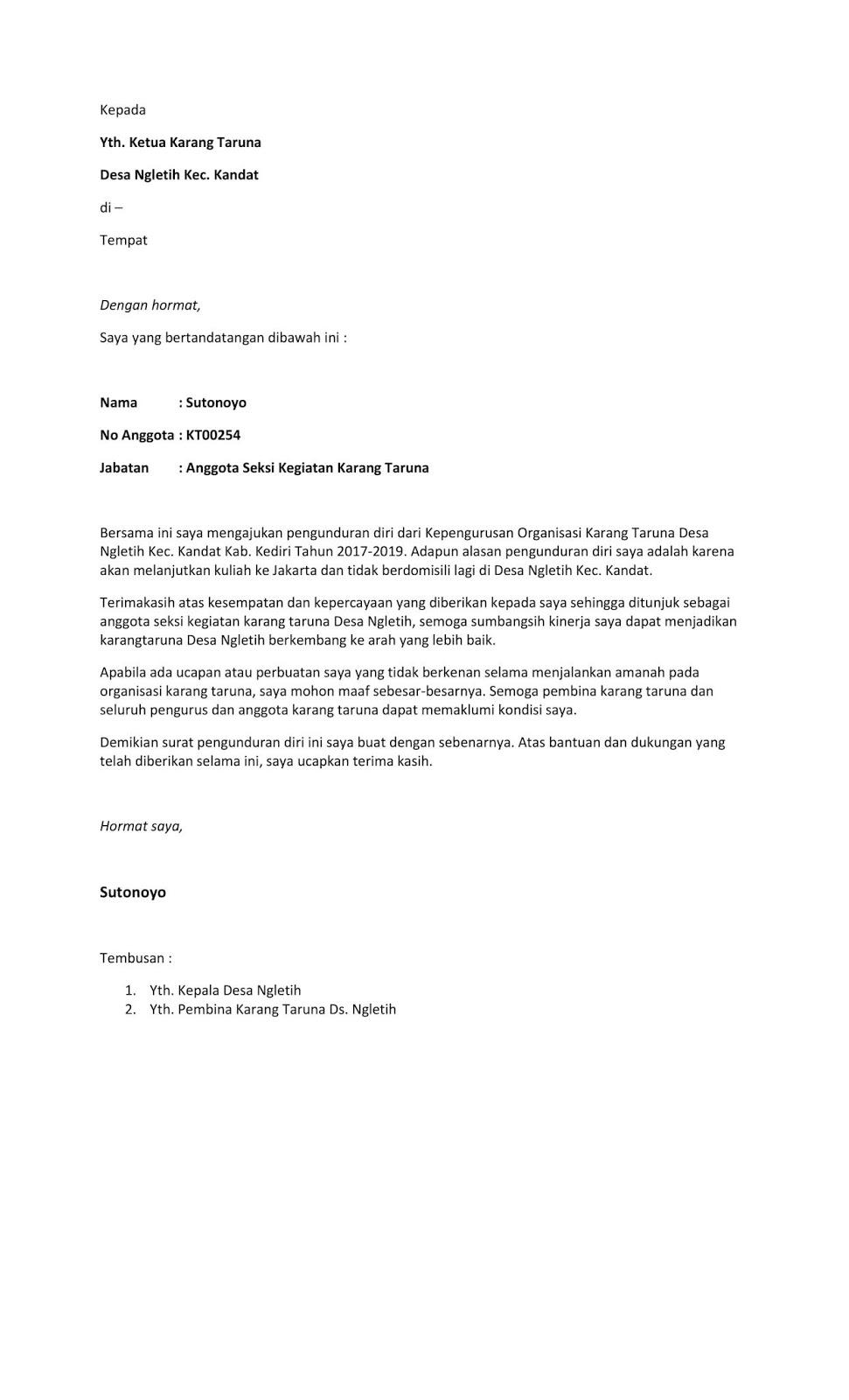 Inilah Contoh Surat Pengunduran Diri Dari Karang Taruna