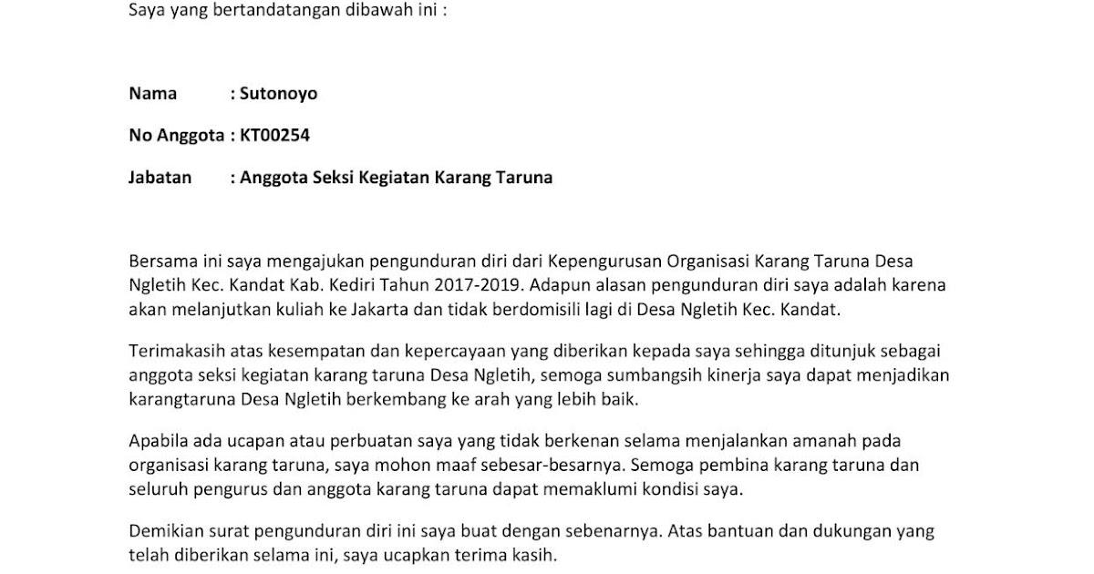 Contoh Surat Pengunduran Diri Organisasi Pemuda Pancasila Contoh Surat Pengunduran Diri Organisasi Pemuda Pancasila