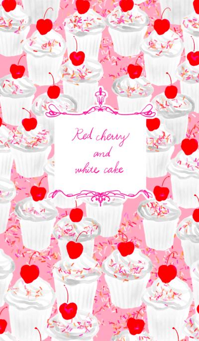 Red cherry and white cake