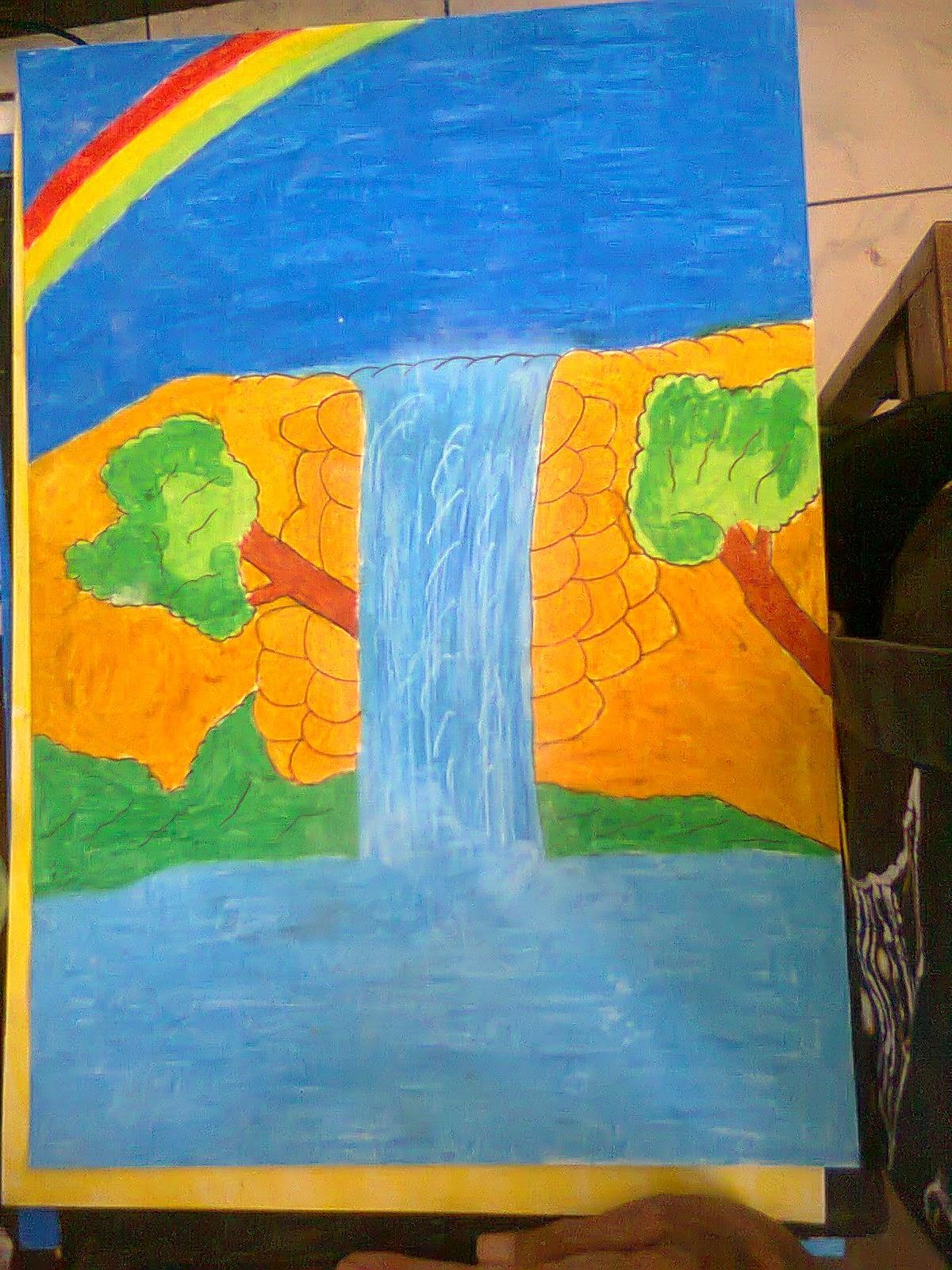 Gambar Sketsa Lukisan Air Terjun Sobsketsa