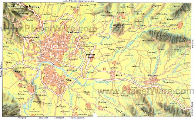 Mapas do Vale de Catmandu – Nepal